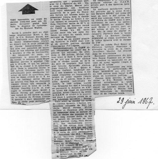 """Article paru dans le journal """"Le Peuple"""" du 29/6/1967"""