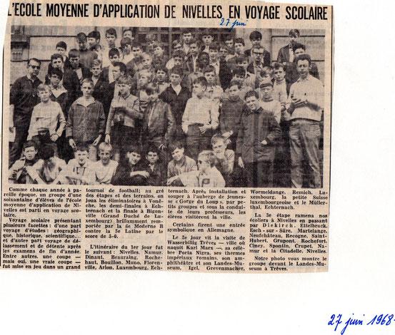 """Article paru dans """"Le Peuple"""" du 27/06/1968"""