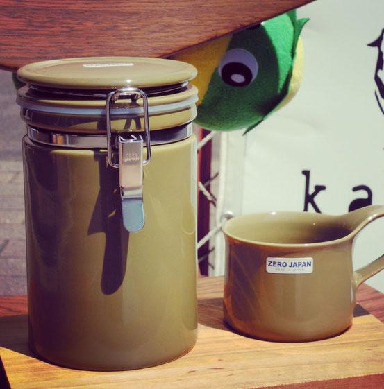 ZEROJAPANコーヒーキャニスター200&カフェマグ カーキ