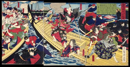 085鹿児嶋征討紀聞 〔賊徒の女隊船上にて奮戦の図〕