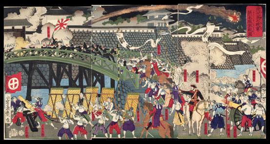 039鹿児島の賊軍熊本城激戦図