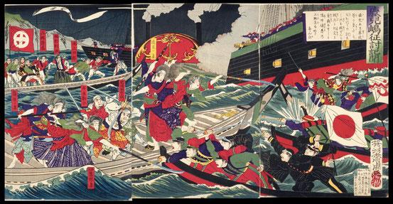 084鹿児嶋征討記聞 〔賊徒の女隊共に船中にて奮戦の図〕