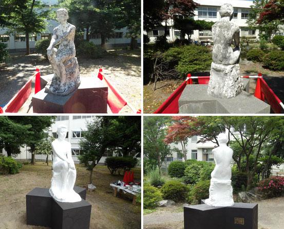 東新潟中学校の中庭に設置されている57年前のセメント彫刻を修理しました。