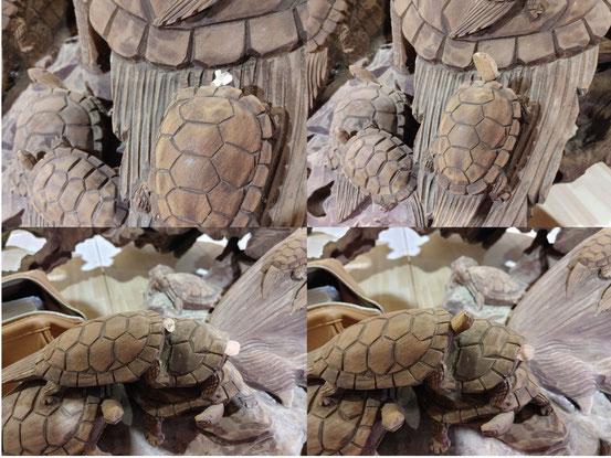 福祉施設にある亀の彫刻修理です。亀の頭をアトリエで作り、現地で調整して付けていきます。この後は着彩して終了の予定です。2月26日