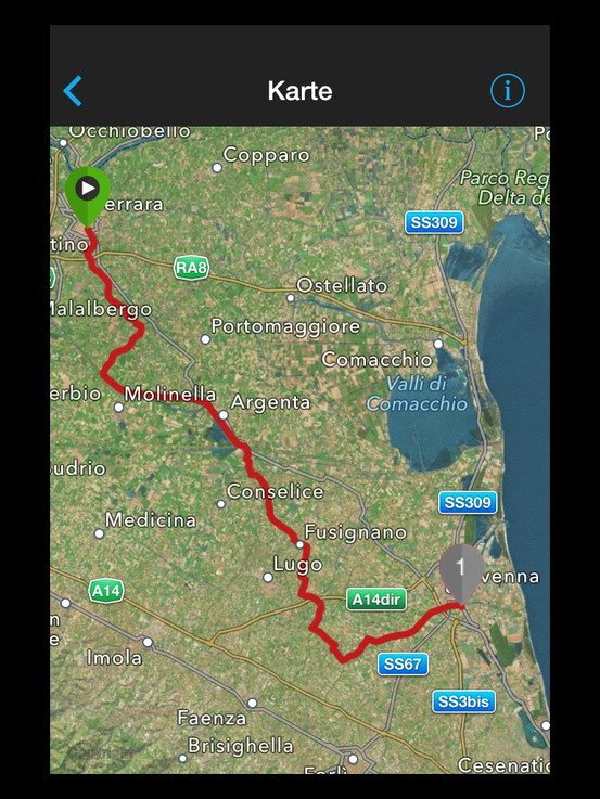 Strecke Ferrara - Ravenna
