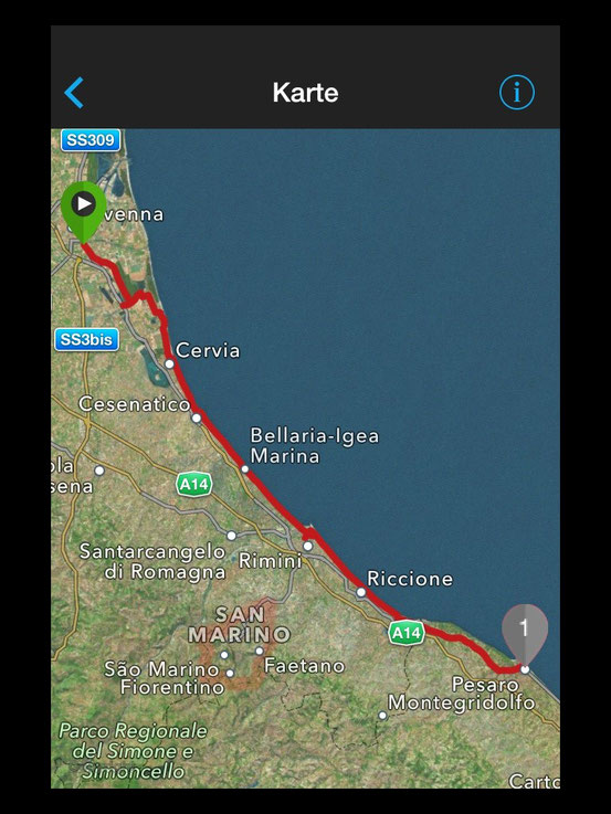 Strecke Ravenna -Pesaro