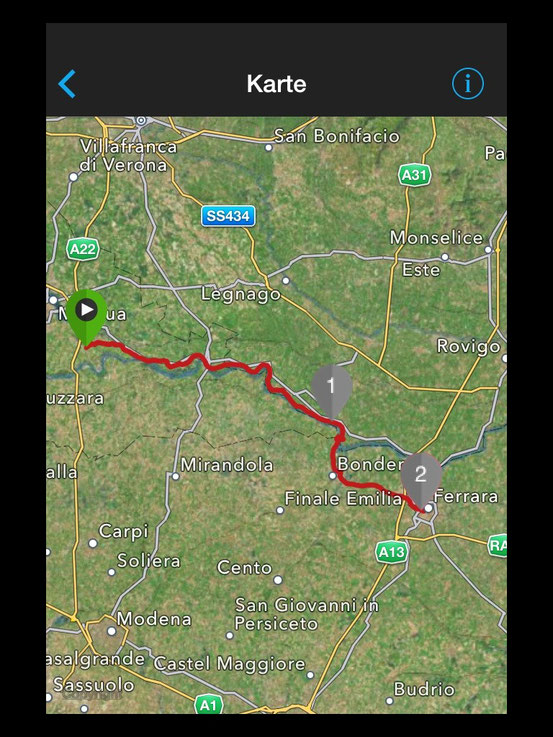 Strecke Bagnolo - Ferrara