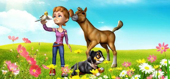 Header 3in1: Meine Tierschule + Mein Westernpferd + Meine Tierpension – Tapsige Tierbabys