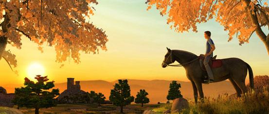 Pferd und Reiter bei Sonnenuntergang