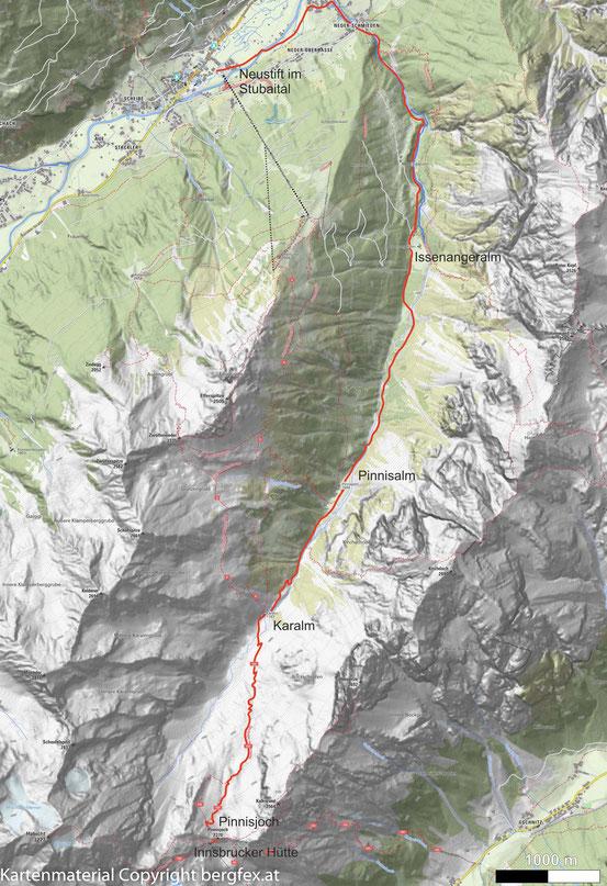 Finale Etappe mit ABstieg von der Innsbruckerhütte nach Neustift im Stubaital