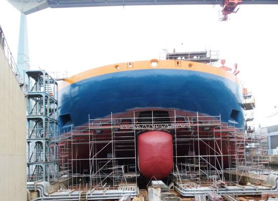 Die Aeolus bei der Sietas-Werft im Baudock