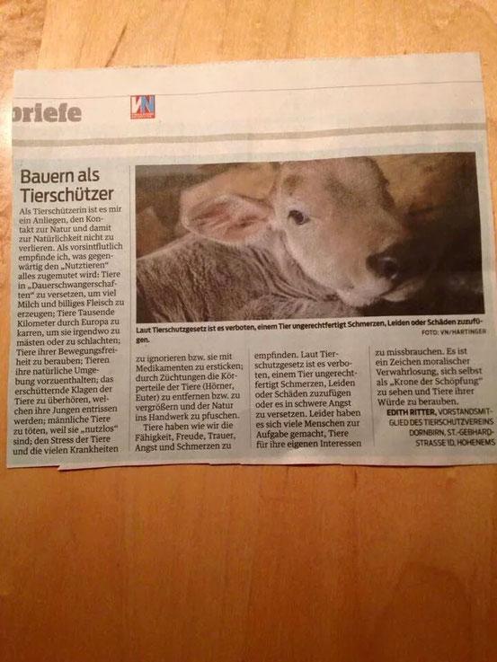 Leserbrief von Edith Ritter in den VN am 11.02.15