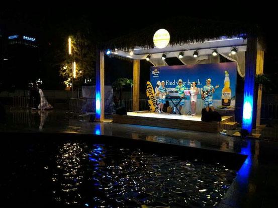 噴水の向こうのステージでは外人さんの生演奏が。コレがまた期待以上で、MIDI使って結構迫力のある演奏でしたね。