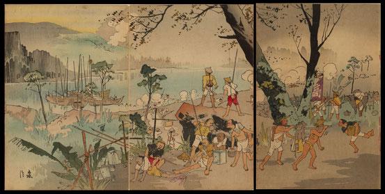 H011我兵鴨緑江を渡る図(函館市中央図書館による仮題)