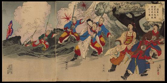 H004清軍之将葉志超朝鮮官妓携敗走之図