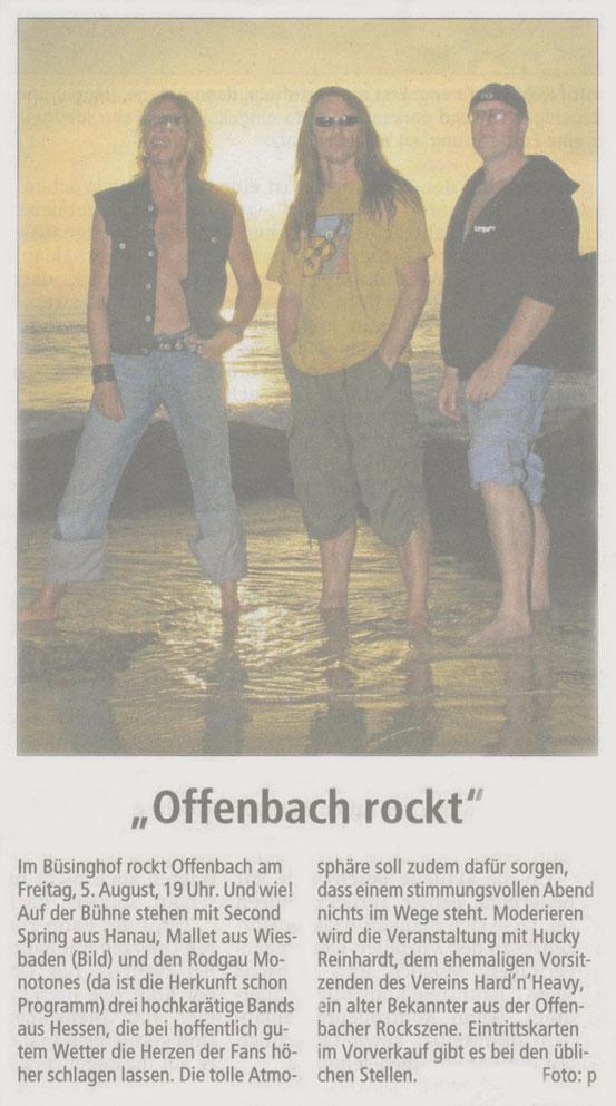 Artikel Offenbach Post, 13. Juli 2011 (Tolle Titelzeile)