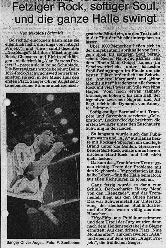 Bericht der Frankfurter Neue Presse zum 1. Platz beim 1822-Rock-Festival (1987)