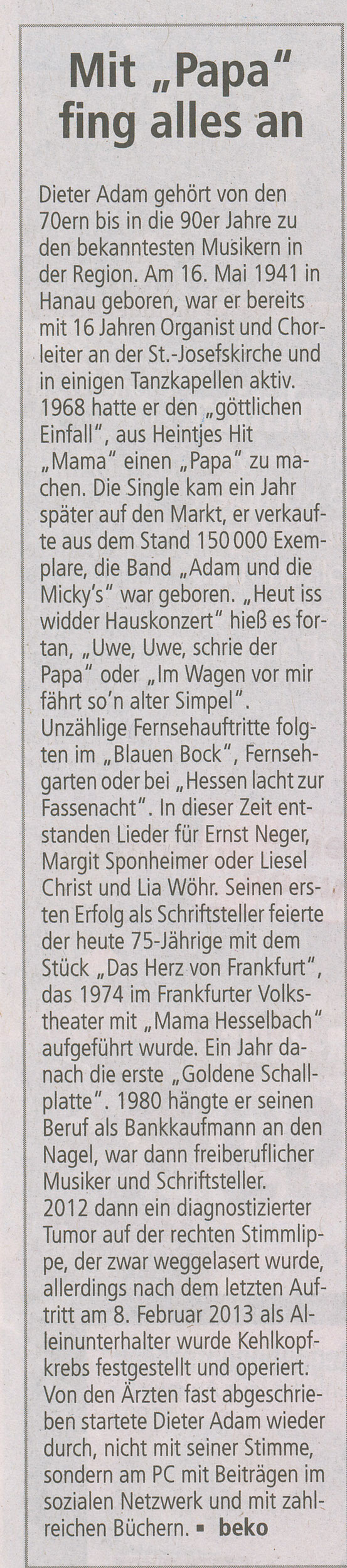Offenbach Post, 29. Dezember 2016