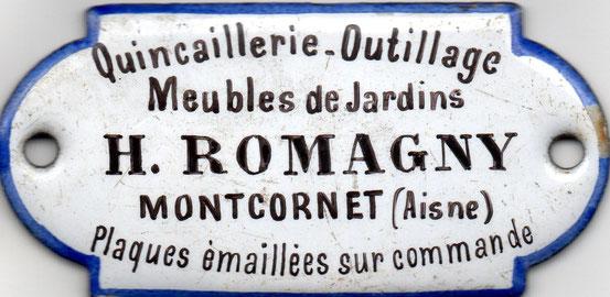 plaque émaillée de la quincaillerie d'Henri Romagny à Montcornet