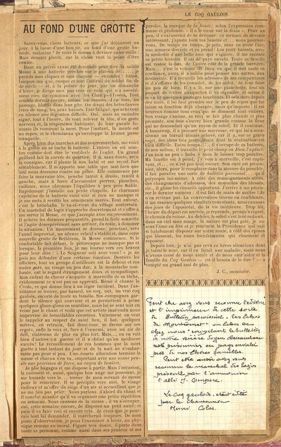 Numéros 98 Du COQ GAULOIS du 11 janvier 1917
