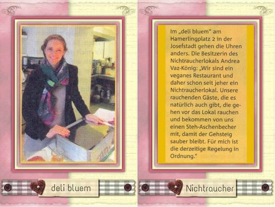 Nichtraucherlokal 'deli bluem'. Scan aus dem 'Wiener Bezirksblatt' vom 2./3.03.2015
