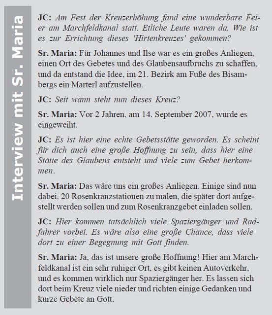 Interview mit Sr. Maria (Screen-Shot aus der Monatszeitschrift der Jüngergemeinschaft) (11/2009)