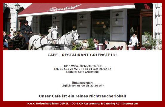 Café Griensteidl (Screen-Shot von der Griensteidl-Website). Link zur Seite: Klick aufs Bild
