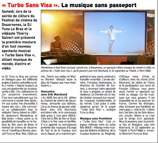 Le Télégramme du 28/08/2012 - Adrien Ollu