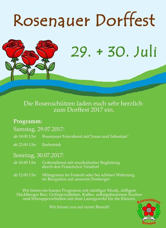 Einladung zum Rosenauer Dorffest 2017 am 29. + 30.07.2017