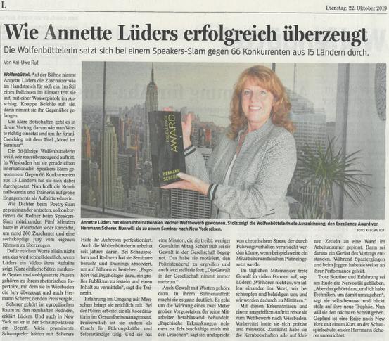 Wolfenbütteler Zeitung vom 22. Oktober 2019