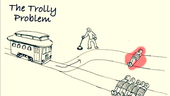 Ein klassischer Utilitarist würde sich im Trolley-Problem für das Umstellen der Weiche entscheiden, da so fünf Menschenleben auf Kosten des einen gerettet würden und in Summe weniger schlechte Konsequenzen auftreten bzw. weniger Leid erzeugt werden würde
