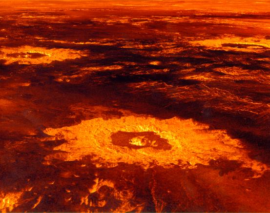 Computergenerierte Schrägsicht auf die drei Krater Saskia (Vordergrund), Danilova (links) und Aglaonice (rechts)