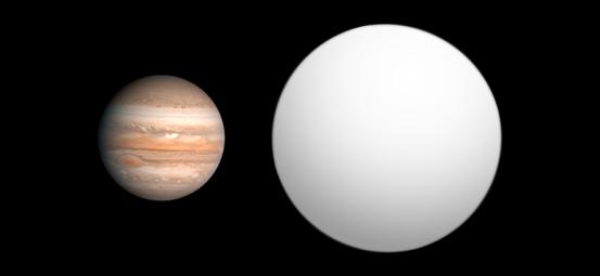 Größenvergleich zwischen Jupiter (links) und TrES-4 (rechts), einem der größten bekannten Exoplaneten