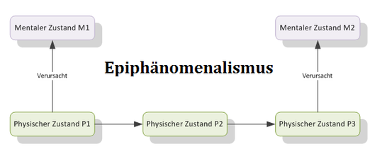 Epiphänomenalismus: mentale Zustände KÖNNEN NICHT andere Zustände verursachen.