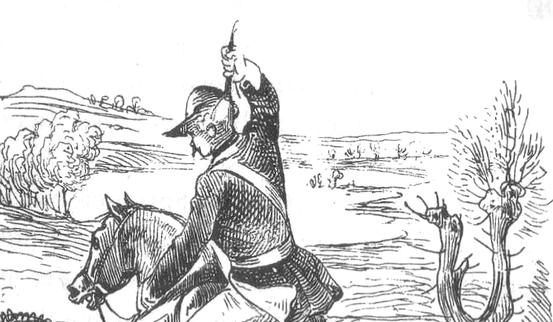 Baron Münchhausen versucht sich selbst aus dem Sumpf zu ziehen.