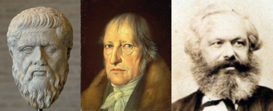 Platon, G. W. F. Hegel und Karl Marx (v.l.n.r.)