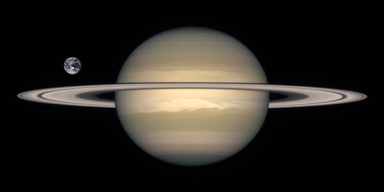 Größenvergleich zwischen Erde (links) und Saturn.
