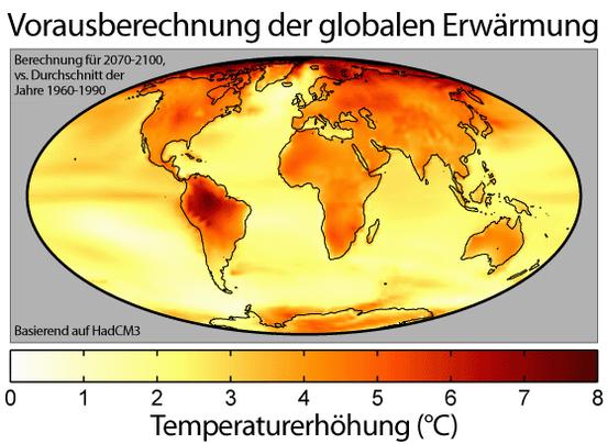 Karte der berechneten globalen Temperaturverteilung zum Ende des 21. Jahrhunderts. In diesem verwendeten HadCM3-Klimamodell beträgt die durchschnittliche Erwärmung 3 K.