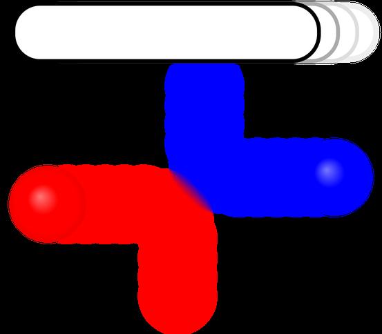 Stoß zweier Kugeln mit Änderung der Bewegungsrichtung um 90°.
