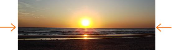 In diesem Beispiel markiert der Übergang zwischen Wasseroberfläche und orangenem Himmel den Horizont des Beobachters.