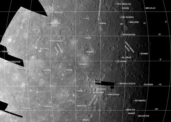 Merkuraufnahme von Mariner 10 mit Beispielen der Nomenklatur