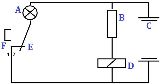 (A = Lämpchen, B = lichtempfindlicher Widerstand, C = Batterie, D = Relais, E = Schalter, F = Umschalter)