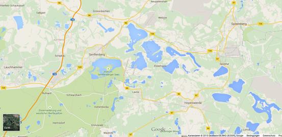 Karte von Google Maps - Niederlausitzer Seenland - Seen, wohin das Auge blickt