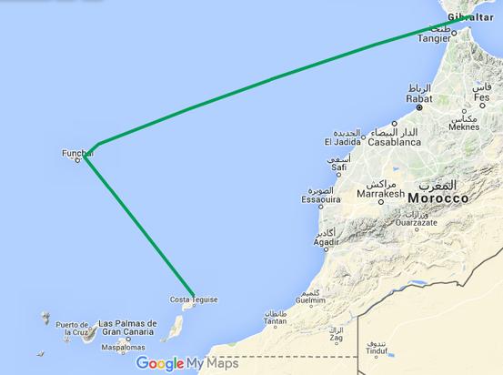 Navigation entre Gibraltar, l'archipel de Madère et les îles Canaries