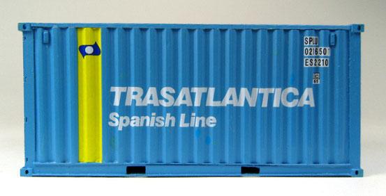Hier ebenso: Ein 20' Dry Container der spanischen Reederei Trasatlantica.