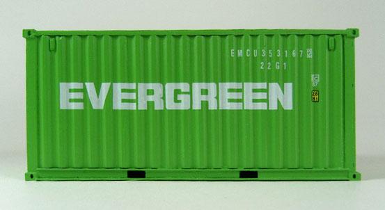Ein 20' Dry Container von der Reederei Evergreen mit ISO-Code nach 1996.