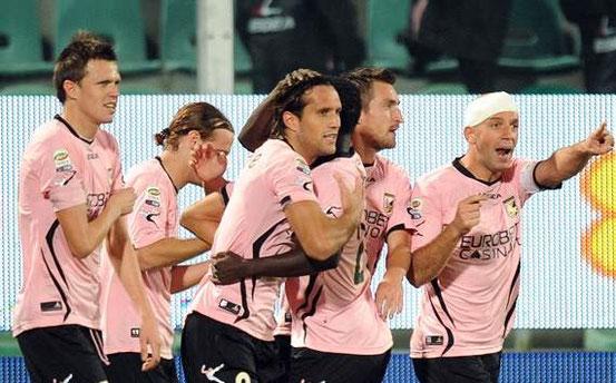Jubelnde Spieler von US Palermo