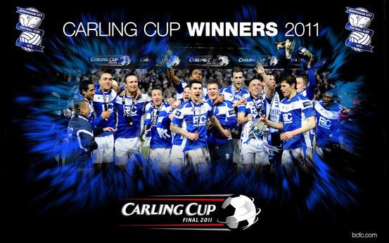 Die Spieler von Birmingham City mit dem Ligapokal