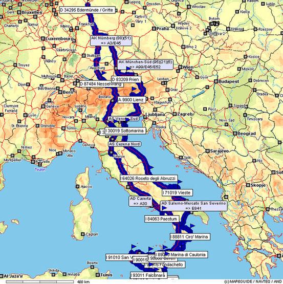 Unsere Tour nach Sizilien 5590 km.