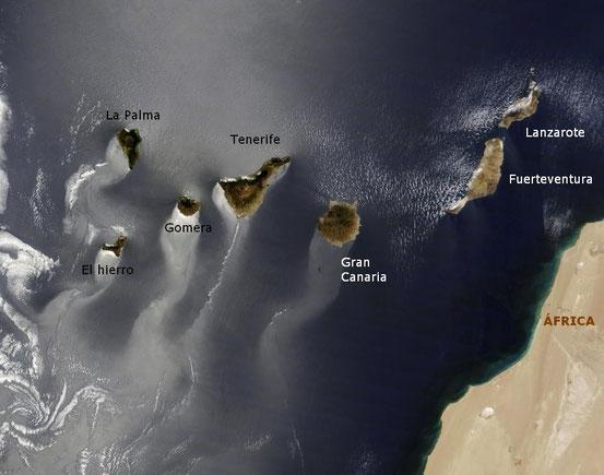 Las Islas Canarias vistas desde satélite